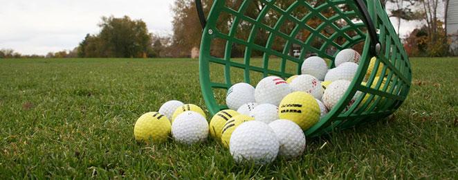 bucket of golfballs